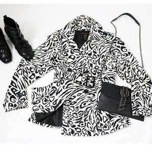 Marisa Christina silk animal print trench coat